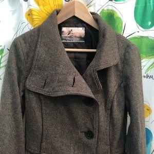 Zara Tweed Wool Blend Mid-Length Coat